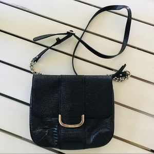 Nine West Faux Croc Crossbody Bag Black